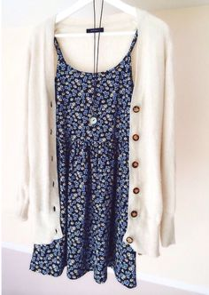 Long cardi over floral dress