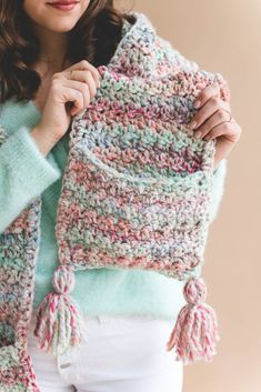 Storybook Hood & Pocket Scarf Crochet pattern by Ashleigh Kiser Hooded Scarf Pattern, Crochet Hooded Scarf, Crochet Scarf Easy, Quick Crochet, Cute Crochet, Crochet Scarves, Crochet Shawl, Crochet Yarn, Single Crochet