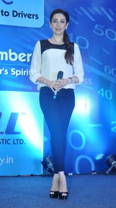 Karisma Kapoor is all smiles as she takes the stage. #Bollywood #Fashion #Style