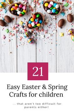 Here are 21 easy Easter crafts for children. As well as Easter crafts, there are Spring crafts too. Non-chocolate easter crafts are also included to make the beat of these fun easter activities for children. Which ones will you want to do? Spring Crafts For Kids, Egg Crafts, Bunny Crafts, Easter Crafts For Kids, Flower Crafts, Chocolate Easter Nests, Easter Activities For Kids, Easter Traditions, Creative Crafts