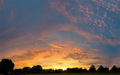 Sunset over Myland fields, Colchester, with high cirrocumulus. Saw Series, Environmental Art, Image Collection, Photo Book, Fields, My Photos, Clouds, Fine Art, Sunset