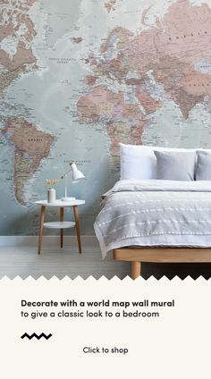 Quality Classic World Map Mural, custom made to suit your wall size, and fully customisable. A classic wallpaper style that will be timeless in your space. World Map Mural, World Map Wallpaper, Girl Bedroom Designs, Bedroom Ideas, World Map Travel, Rustic Master Bedroom, Classic Wallpaper, Teen Girl Rooms, Classic Interior