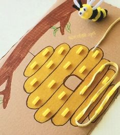 Spring summer bee beehive lacing string and glue straw pieces together  Small motor skills  Fine motor skills activity