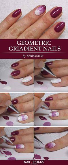 15 Super Easy Nail Designs DIY Tutorials: #13. Geometric Gradient Nails; #nailart; #naildesign; #nailtutorial