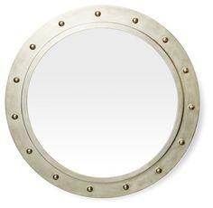 "26"" Porthole Mirror, Silver"