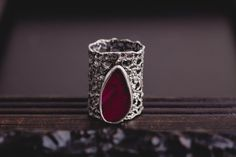 Lace Rough Ruby Ring-Sterling Silver Ruby Ring-Vintage Inspired Lace Ring