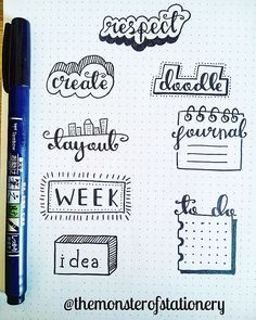 Word doodles for headings could include bus thoughts, song ideas, today, devotion, charts/tracking. Decide the page into sections Bullet Journal Inspo, Bullet Journal Lettering, Bullet Journal Headers, Bullet Journal Banner, Bullet Journal Tracker, Bullet Journal Notebook, Word Doodles, Bujo Inspiration, Pretty Notes