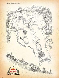 Red Bull Joyride @ Crankworx 2011 map illustration by Scott Dickson