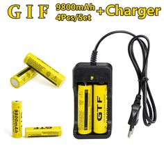 4 Pc/set Rechargeable 18650 Battery  3.7V Li-ion 9800mAh  Battery With Charging Dock For Flashlight Batery Litio Battery