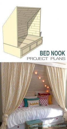 Diy Crafts Ideas : Make your own cozy built-in bed nook! Perfect for a teen or tween room or for a