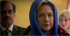 Hillary Wears Hijab in New Campaign Ad Now we have not only the first female commie presidential candidate, but we have the first Ms.Mullah-ImanClinton, peace be unto her. The newest female Mullah-Iman. The female Moooooooslim prophet. Give her a tent and camel, please. Put her on the bully pulpit in the nearest Mosque. May she always campaign facing towards Mecca! Is Mecca left? Bet you still, that no Hijab can cover up the hippy, hippy, hippy hips or under her pants-suit thunder thighs.