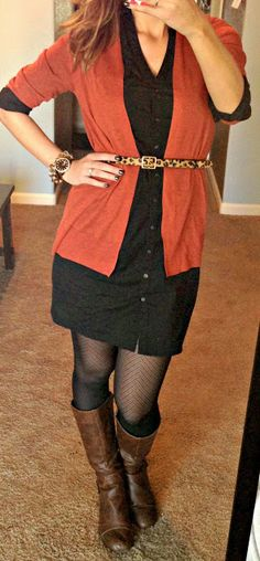 Belted cardigan over shirt dress with tights and boots