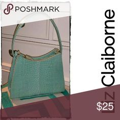 Beautiful Aqua/Seafoam Small Croco Embossed Purse Beautiful little organizer purse by Liz Claiborne. Has several interior pockets in a small size bag with large storage capacity. Excellent, like new condition. Liz Claiborne Bags