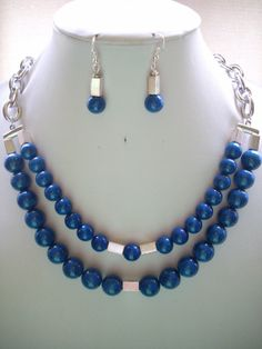 Aretes y collar 2 lineas esferas semipreciosas, tubitos plata y cadena gruesa