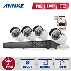419.99$  Buy here - http://aliwvs.worldwells.pw/go.php?t=32697241142 - ANNKE 8CH HD 1080P NVR IP Network PoE Outdoor Home Video Security Camera System 419.99$