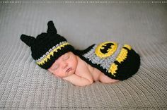 Batman Crochet Set - Little Man Bat Baby Superhero Costume Photography Photo Prop - Cape, Mask, & Hat - Boy or Girl, Newborn - 12 Month Size