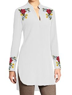 Chiffon-Silk-Tunic-with-Shoulder-and-Cuff-Embroidery-Customizable