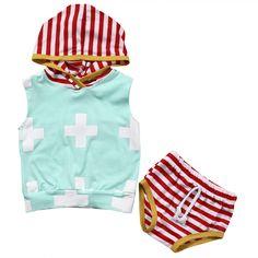 >> Click to Buy << 2017 Summer Newborn Baby Boy Girl Clothes Set Sleeveless Hooded Vest Top Short Bottom 2PCS Outfit Bebek Giyim Toddler Kids Suit #Affiliate