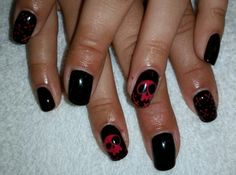 With super cool skull hand drawn designs! Hollywood Hair, Skull Hand, Cnd Shellac, Hair Designs, Hand Drawn, How To Draw Hands, Cool Stuff, Nails, Black