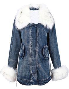 Blue Fur Lapel Long Sleeve Drawstring Denim Coat US$49.18