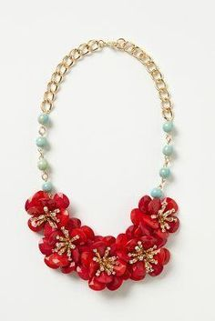 Anthropologie Camellia Bib Necklace by Anthropologie Red ONE SIZE 's