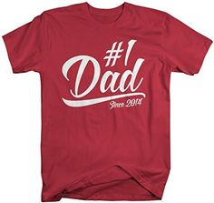 Let dad know he's #1 in this Modern style t-shirt for father's day. This tee is personalized with the year 2014 so Dad can let everyone know how long he's been #1. Our cotton t-shirts are machine wash