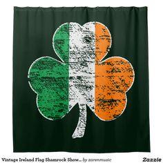 Vintage Ireland Flag Shamrock Shower Curtain