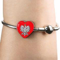Polish Eagle With Red Heart Charm Bracelet