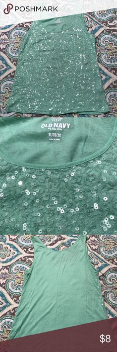 Old Navy sequin tank Sequined top, mint green. In excellent condition, XL Old Navy Tops Tank Tops