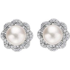 EVER FAITH 925 Sterling Silver 9MM AAA Freshwater Cultured Pearl CZ... (162330 PYG) ❤ liked on Polyvore featuring jewelry, earrings, freshwater pearl earrings, sterling silver jewelry, cultured pearl earrings, floral earrings and clear stud earrings