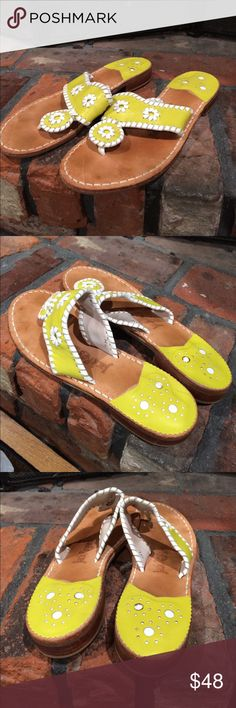 Jack Rogers Lime Green Sandals size 7 Jack Rogers Lime Green Sandals size 7. Gorgeous line green and white trimmed sandals.  Gently used condition. Super cute Jack Rogers Shoes Sandals