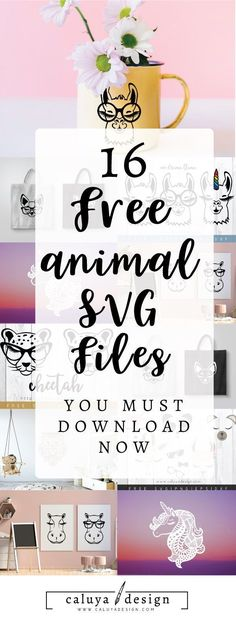 FREE 16 animal SVG cut files for you all to enjoy! These adorable animals- Unicorn, llama, hippo, cheetah, owl, bear, giraffe, panda, fox, chihuahua will definitely comes in handy, makes you want to work with your Cricut or Cameo Silhouette and create something amazing! Free Animal SVG, free dog SVG, free unicorn SVG, free owl SVG, free bear SVG, compatible with Cameo Silhouette, Cricut and other major cutting machines. perfect for personalized gift, craft and many more!