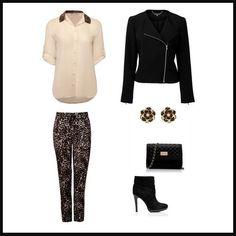 Leopar desenli pantolonu, siyahın ağırlıkta olduğu parçalarla kombinleyin.