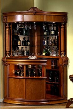 There comes a time in every adult's life when a bar cart just won't do anymore. In which case, it might be time to upgrade to a bar cabinet. Corner Home Bar, Corner Bar Cabinet, Home Bar Cabinet, Bar Cabinets For Home, Bar Furniture For Sale, Home Bar Furniture, Furniture Ideas, Furniture Design, Mini Bars