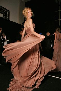 Daria Strokous, Elie Saab, Elie Saab Couture, Paris Fashion Week, atelier, backstage, ball gown, brown, catwalk, chiffon, cocktail dress, couture, couturier, designer, elegant, evening gown, fashion, fashion designer, fashion show, fashion week, gown, haute couture, high fashion, layers, model, nude, romantic, runway, runway show, silk,