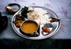 A typical Nepali meal Dal bhat in Kathmandu