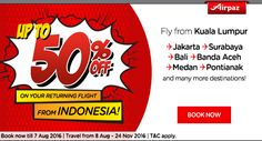 Book round trip to save more ! Discount up to 50% on your returning flight! Book your seat now : http://ow.ly/Mg5o302772O More info : http://ow.ly/1ThG302N8kb #CheapFlights #Promo #AirAsia #Airpaz #Malaysia #Travel #Backpacker #Holiday #Backpacking #Trip #Vacation #Indonesia