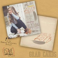 flyin'awayFEATHERS - graduation announcement // open house invites on Etsy, $39.00