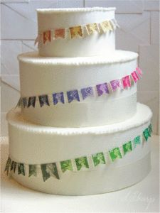 buntings cake! cake banner made from stamps