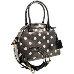 Pre-owned Kate Spade Cedar Street Patent Leather Small Pearl: Msrp... ($225) ❤ liked on Polyvore featuring bags, handbags, shoulder bags, black beige, kate spade satchel, satchel purse, black satchel, studded purse and shoulder strap handbags