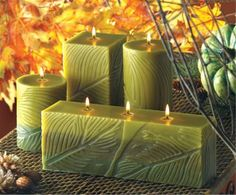 Green Fern Leaf Imprint Candles
