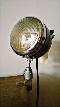 SONJA the desk lamp, table lamp, vintage industrial light , design bespoke handmade light Outdoor Light Fixtures, Outdoor Lighting, Best Desk Lamp, Car Part Furniture, Table Vintage, Vintage Industrial Furniture, Pipe Lamp, Tripod Lamp, Industrial Lighting