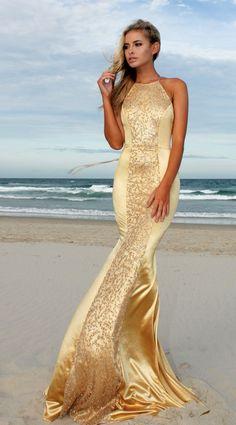 Glamorous Gold Desire backless halter prom/ formal dress by STUDIO MINC Satin Dresses, Elegant Dresses, Pretty Dresses, Evening Dresses, Prom Dresses, Formal Dresses, Wedding Dresses, Maid Of Honour Dresses, Glamour