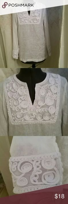 NWOT BEAUTIFUL LINEN BLEND BLOUSE This beautiful top has never been wore excellent condition.  Light weight fabric. Gorgeous swirly design in the front and on the cuff of the long sleeves. SUSAN BRISTOL  Tops Blouses