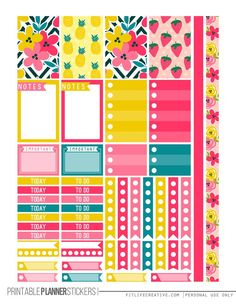 Tropical Summer Free Printable Planner stickers for the classic size Happy Planner. Includes 2 full pages of planner stickers. Summer Planner, To Do Planner, Free Planner, Happy Planner, College Planner, Planner Ideas, College Board, Student Planner, College Tips