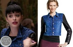 Apartment 23: Season 2 Episode 13 Chloe's Blue Leopard Print Leather Sleeve Denim Jacket