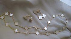 Van Cleef & Arpels Vintage Alhambra YG MOP 20 motif, btf ring, and Magic earrings