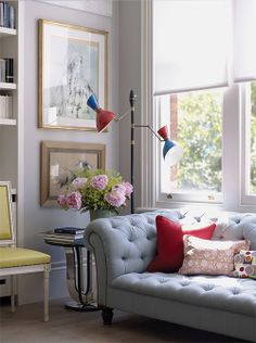 From the book DECORATE by @Holly Elkins Elkins Becker. Pinned from @Nicole Novembrino Novembrino Balch, Making it Lovely, August 2011. Love the floor lamp tucked into a corner; allows for artwork on walls. Could recreate in family room.