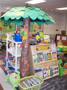 Chicka Chicka Boom Boom tree made with an umbrella covered with leaves and a carpet roll tube. I love it!