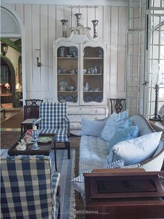 Room of the Day ~ mix of blue checks, stripes,  white panelling and scrumptious curved piece - from One Man's Folly: The Exceptional Houses of Furlow Gatewood